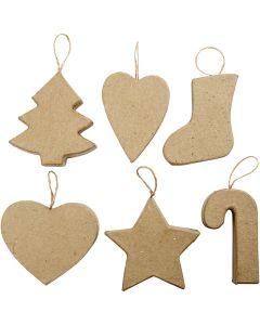 Décorations de Noël, H: 7+8 cm, 6 pièce/ 1 Pq.