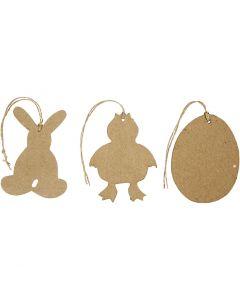 Décorations de Pâques à suspendre, lapin, poulet, oeuf, H: 10 cm, 6 pièce/ 1 Pq.