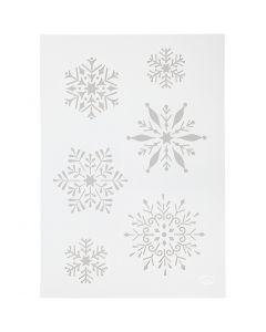 Pochoir, Flocons de neige, A4, 210x297 mm, 1 pièce