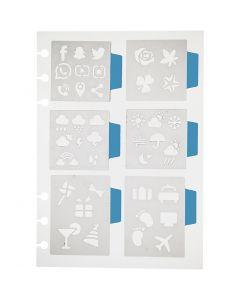 Pochoir, 6 petits motifs, 12,5x17,5 cm, 1 flles