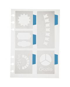 Pochoir, 5 grands motifs, 12,5x17,5 cm, 1 flles
