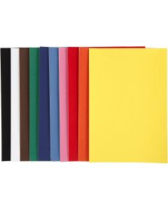 Papier velours, A4, 210x297 mm, 140 gr, couleurs assorties, 10 flles/ 1 Pq.