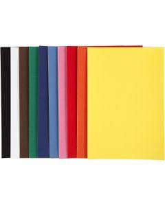 Papier velours, A4, 210x297 mm, 140 gr, couleurs assorties, 10x5 flles/ 1 Pq.