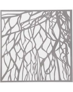 Pochoir, racines, dim. 30,5x30,5 cm, ép. 0,31 mm, 1 flles