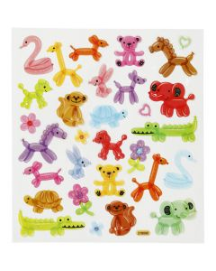 Autocollants fantaisie scintillants, ballons animaux, 15x16,5 cm, 1 flles
