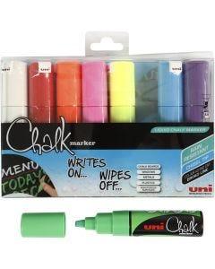 Feutre à craie, chalk, trait 8 mm, couleurs assorties, 8 pièce/ 1 Pq.