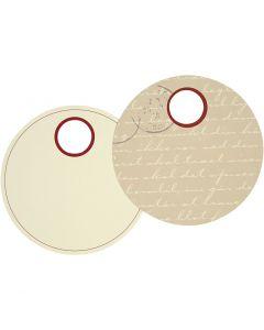 Etiquette cadeau, d: 9 cm, 300 gr, 20 pièce/ 1 Pq.