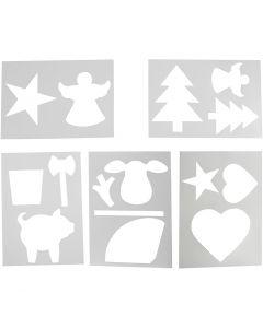 Pochoirs avec motifs de Noël, A4, 210x297 mm, blanc, 5 flles ass./ 1 Pq.