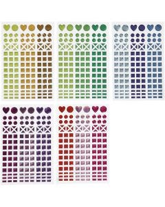 Autocollants mosaïques, d: 8-14 mm, 11x16,5 cm, couleurs assorties, 10 flles/ 1 Pq.