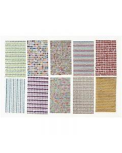 Rangs de pierres de strass, d: 4-6 mm, 16x9,5 cm, couleurs assorties, 10 flles/ 1 Pq.