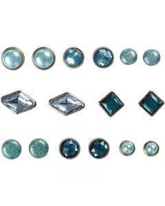 Rivets décoratifs, dim. 8-18 mm, bleu, 16 pièce/ 1 Pq.