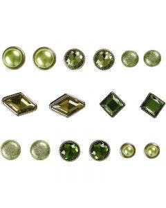 Rivets décoratifs, dim. 8-18 mm, vert, 16 pièce/ 1 Pq.