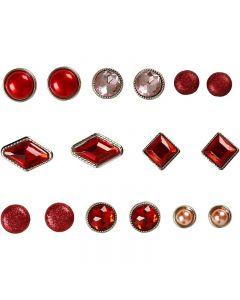 Rivets décoratifs, dim. 8-18 mm, rouge, 16 pièce/ 1 Pq.