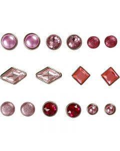 Rivets décoratifs, dim. 8-18 mm, rose, 16 pièce/ 1 Pq.