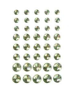 Pierres de strass, dim. 6+8+10 mm, vert, 40 pièce/ 1 Pq.