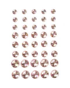 Pierres de strass, dim. 6+8+10 mm, rose, 40 pièce/ 1 Pq.