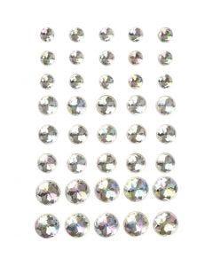 Pierres de strass, dim. 6+8+10 mm, cristal, 40 pièce/ 1 Pq.