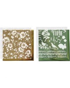 Film décoratif et feuille transfert, fleurs, 15x15 cm, or, vert, 2x2 flles/ 1 Pq.