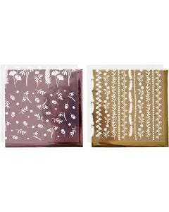Film décoratif et feuille transfert, 15x15 cm, 2x2 flles/ 1 Pq.