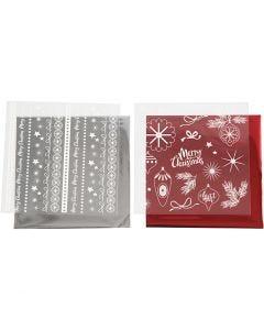 Film décoratif et feuille transfert, Noël magique, 15x15 cm, rouge, argent, 2x2 flles/ 1 Pq.