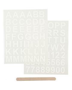 Décalcomanies, lettres et chiffres, 12,2x15,3 cm, blanc, 1 Pq.