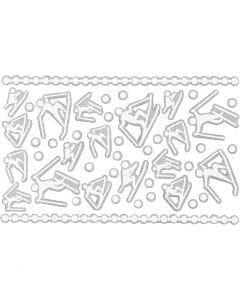 Autocollants en mousse, skieurs, 9x14 cm, dim. 5-30 mm, blanc, 1 flles