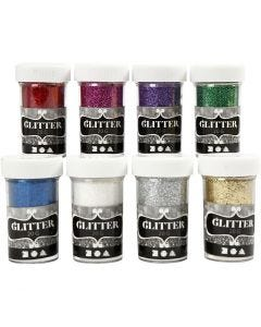 Paillettes, couleurs assorties, 8x20 gr/ 1 Pq.
