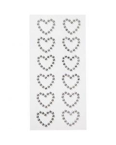 Coeurs en pierres de strass, dim. 23x21 mm, 12 pièce/ 1 Pq.