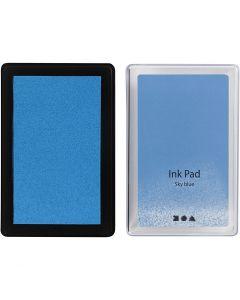 Tampon encreur , H: 2 cm, dim. 9x6 cm, bleu ciel, 1 pièce