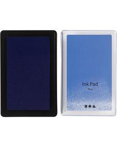 Tampon encreur , H: 2 cm, dim. 9x6 cm, bleu, 1 pièce