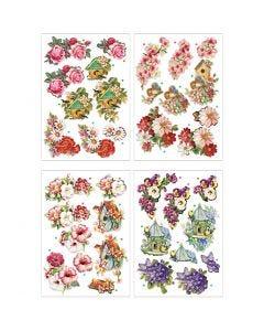 Motifs 3D, fleurs et oiseaux, 21x30 cm, 4 flles/ 1 Pq.