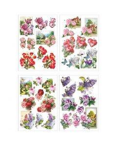 Motifs 3D, fleurs et papillons, 21x30 cm, 4 flles/ 1 Pq.