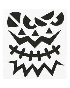 Autocollants, Halloween - larges visages, 15x16,5 cm, 1 flles