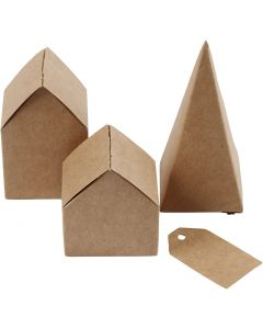 Maisons et arbres découpés, H: 5,7-10 cm cm, 1 set