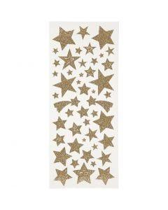 Autocollants scintillants, étoiles, 10x24 cm, or, 2 flles/ 1 Pq.