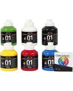 Peinture acrylique A-Color, brillante, coleur primaire, 6x500 ml/ 1 Pq.