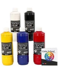 Peinture Textile Color, couleur primaire, 5x500 ml/ 1 Pq.