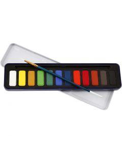 Set de peinture Aquarelle, dim. 12x30 mm, 12 couleur/ 1 Pq.