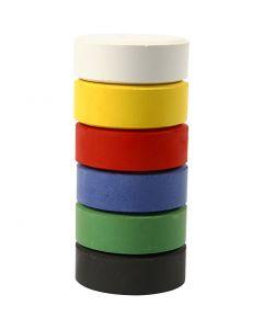 Gouache - Assortiment, H: 16 mm, d: 44 mm, couleur primaire, 6 pièce/ 1 Pq.