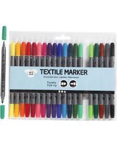 Feutres textile, trait 2,3+3,6 mm, couleurs classiques, 20 pièce/ 1 Pq.