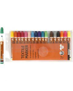 Feutres textile, trait 2-4 mm, couleurs assorties, 18 pièce/ 1 Pq.
