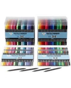 Feutres textile, trait 2,3+3,6 mm, couleurs classiques, couleur extra, 24x20 pièce/ 1 Pq.