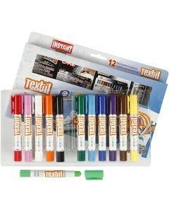 Feutres textile Playcolor, L: 14 cm, couleurs assorties, 12 pièce/ 1 Pq.