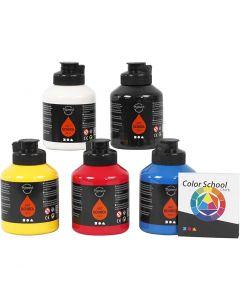 Peinture Pigment Art School, couleur primaire, 5x500 ml/ 1 Pq.