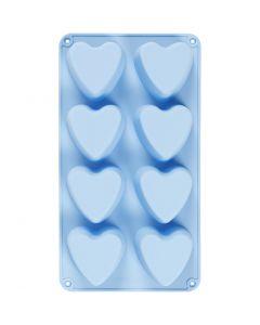 Moule en silicone, coeurs, H: 3,5 cm, L: 35 cm, L: 21 cm, diamètre intérieur 70x60 mm, 100 ml, bleu clair, 1 pièce