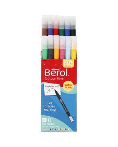 Feutres Berol Colourfine, d: 10 mm, trait 0,3-0,7 mm, couleurs assorties, 12 pièce/ 1 Pq.