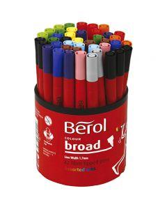 Feutre Berol, d: 10 mm, trait 1-1,7 mm, couleurs assorties, 42 pièce/ 1 boîte