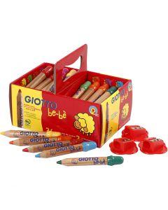 Crayons de couleur, L: 10,5 cm, d: 13 mm, mine 6 mm, couleurs assorties, 36 pièce/ 1 Pq.