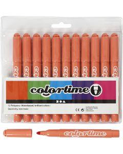 Feutres Colortime, trait 5 mm, mandarine, 12 pièce/ 1 Pq.