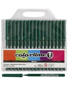 Feutres Colortime, trait 2 mm, vert foncé, 18 pièce/ 1 Pq.